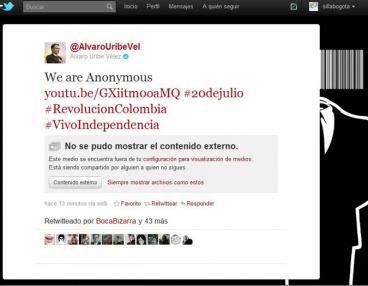 Anonymous ataca al presidente de Colombia  Uribe-hackeado