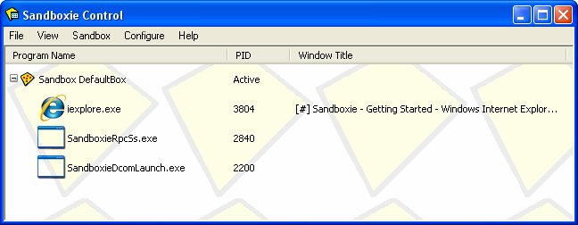 SandBoxie (Máquina virtual) MainWindow