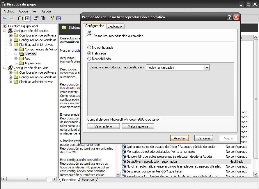 """Desactivar reproducción automática de unidades """"autorun.inf"""" - Directivas de grupo Gpedit"""