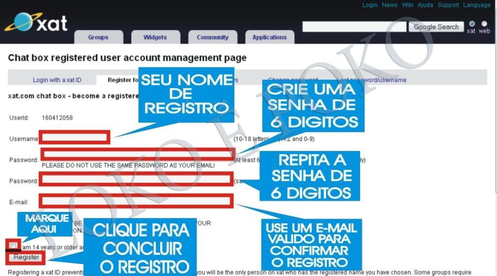 Como se registrar no xat.com 001