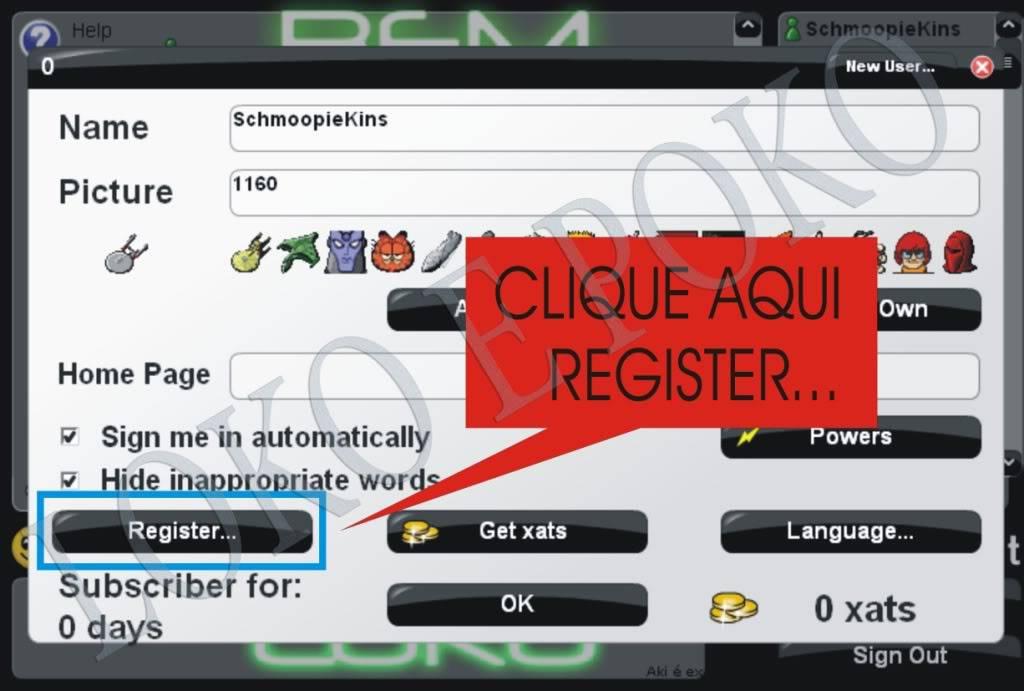 Como se registrar no xat.com Registro