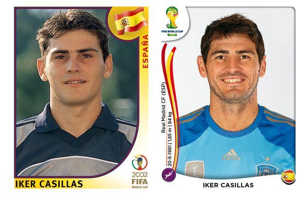 El antes y después de los jugadores de fútbol en los cromos del mundial Iker-Casillas
