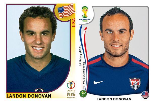El antes y después de los jugadores de fútbol en los cromos del mundial Landon-Donovan
