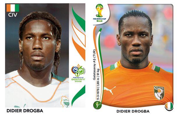 El antes y después de los jugadores de fútbol en los cromos del mundial Didier-Drogba