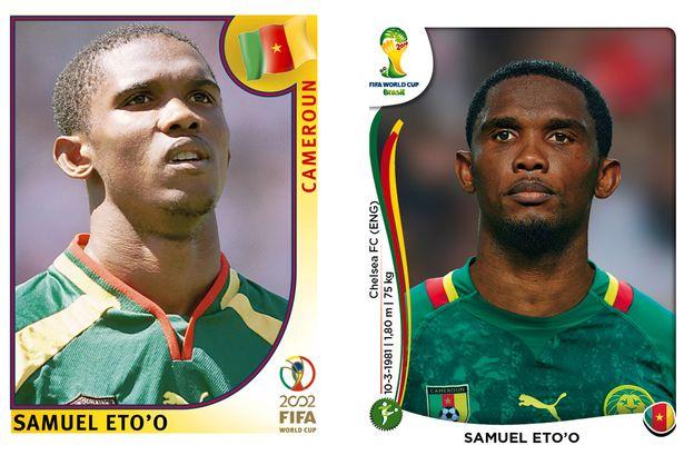 El antes y después de los jugadores de fútbol en los cromos del mundial Samuel-Etoo