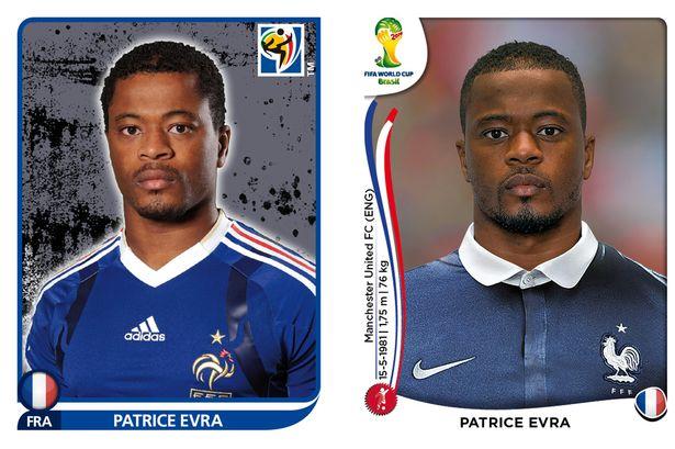 El antes y después de los jugadores de fútbol en los cromos del mundial Patrice-Evra