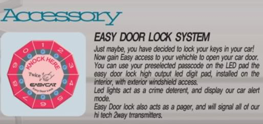 Customised 3M/AAA/Duo colour Carmat/Custom Fit Sunshade/Keyless/Reverse Parking/HID - Page 3 Easy_Door_Lock_System
