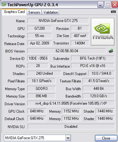 new gfx card Gtx275oc