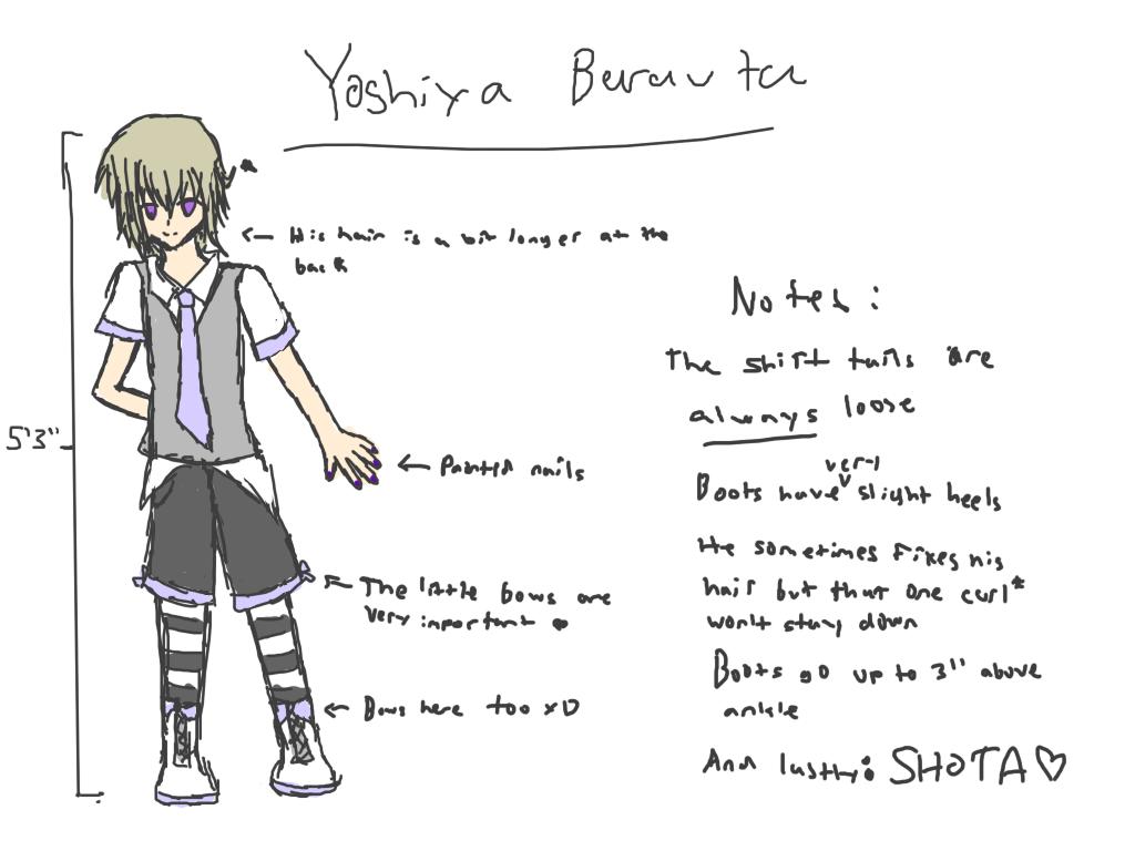 Yoshiya's new design (Character sketch with notes) Yoshiyasketch