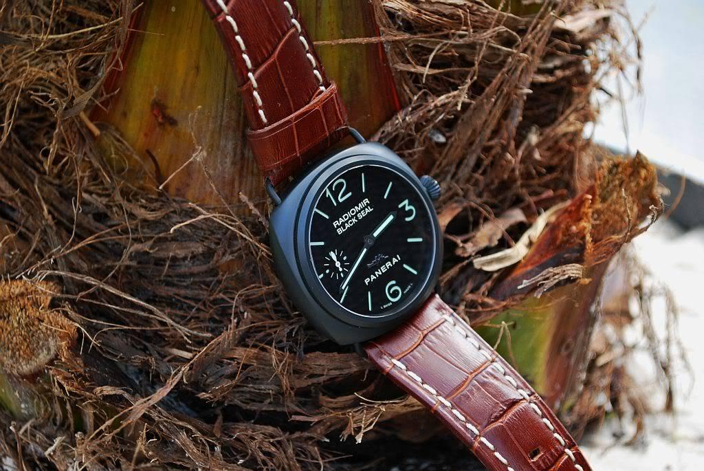 montre noir - bracelet brun 292o5