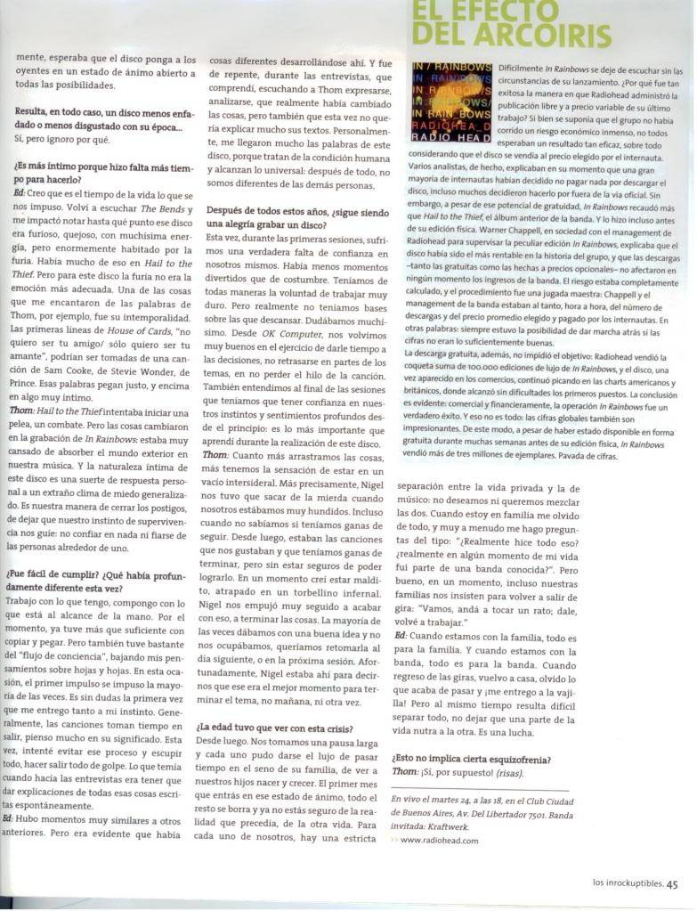 Jornal e Revista argentinos. Radiohead008