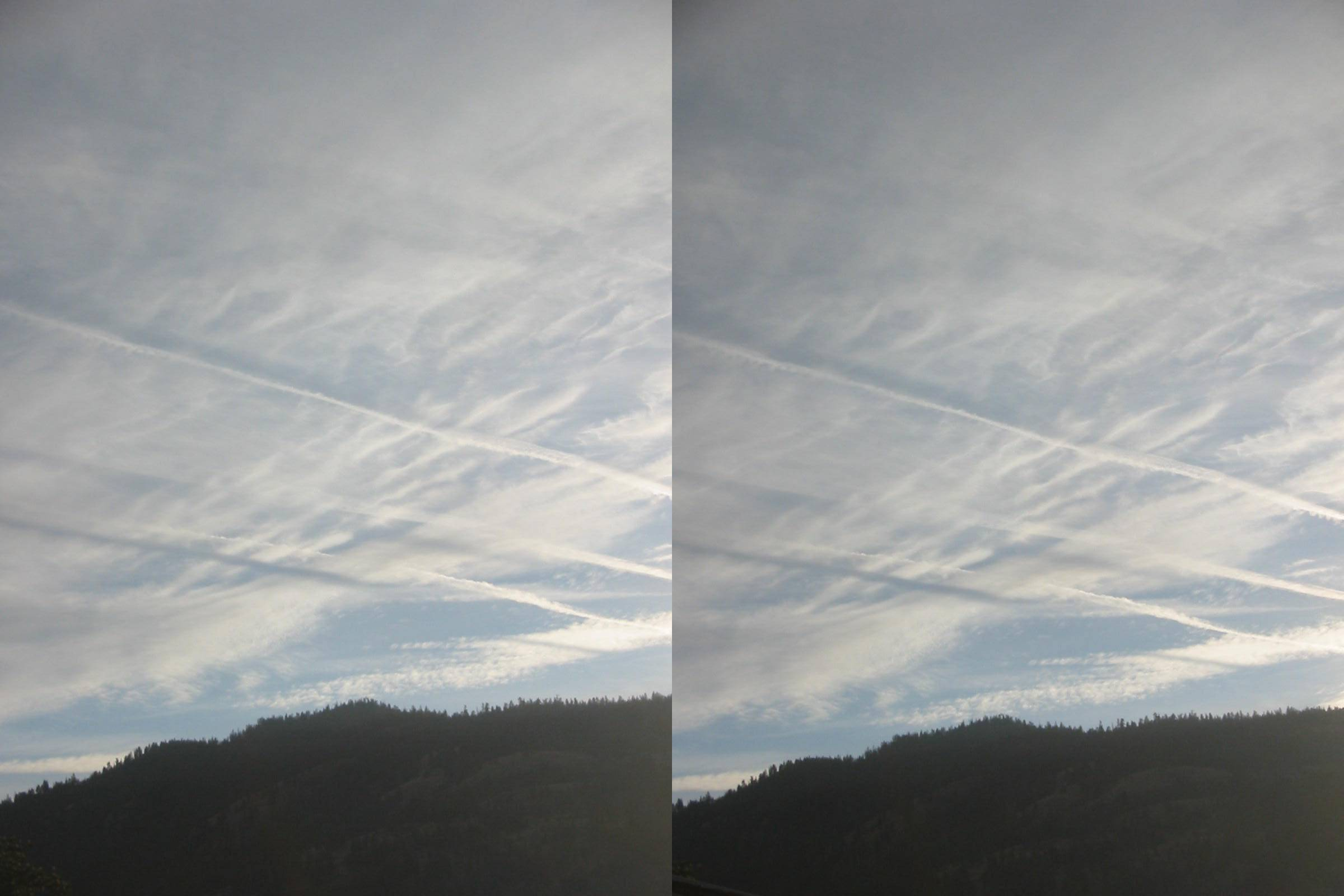 again, planes mixing chemtrails on 2014-06-18 Stereotrails