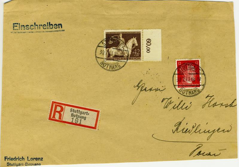 Reizvolle Briefe des Deutschen Reichs DRMichel854Registered