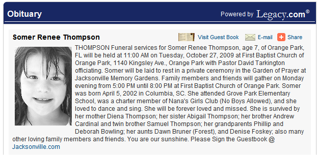 Florida Police Confirm Body in Landfill Is Somer Thompson/ SO waiting for lab results 1-8-10 - Page 2 OBIT