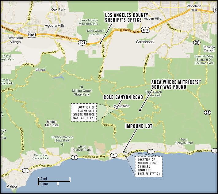 Remains found in Malibu Canyon id'ed as Mitrice Richardson, missing since Sept 2009/Parent's to Exhume Body 7.13.2011/Rpt by LA's *County* Office of Independent Review, Breakdown of Communication over Mitrice's remains Mitrices-Map