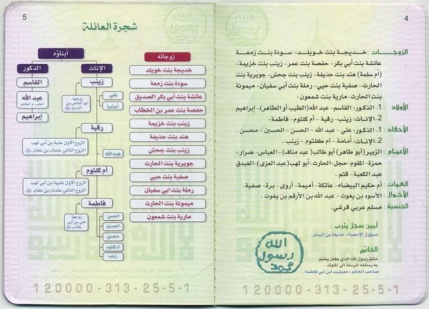 البطاقة العائلة للنبي صلى الله عليه وسلم 9-5