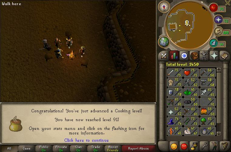 "W00t! 99 cooking :"") 91cook"