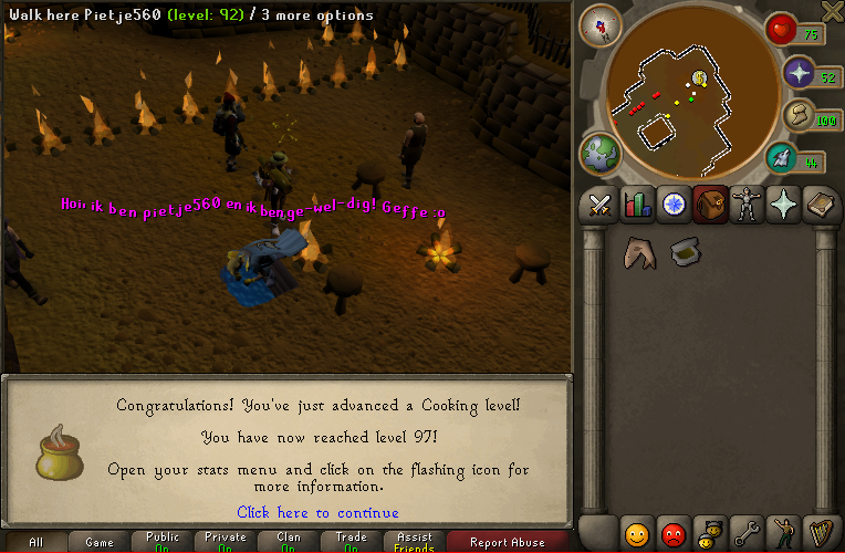 "W00t! 99 cooking :"") 97cook"