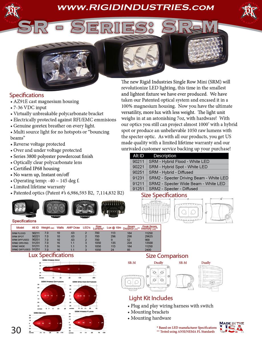 Rigid Industries SRM-2 Driving LED Light 30sellsheet-X3