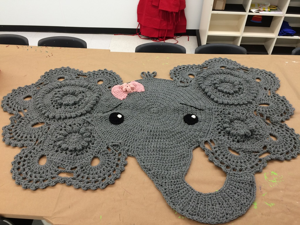 Custom Crocheted Elephant Nursery Rug 6 1/2' x 4' IMG_0773