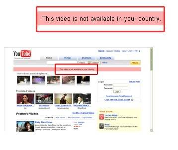 Banned from this website. Youtube-your-country