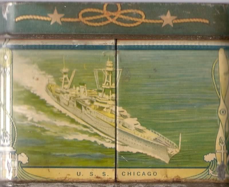 1930's USN motif biscuit tin Usschicagoca29