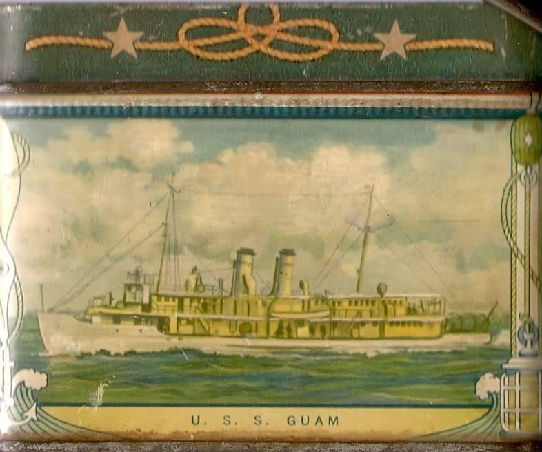 1930's USN motif biscuit tin Ussguampg43