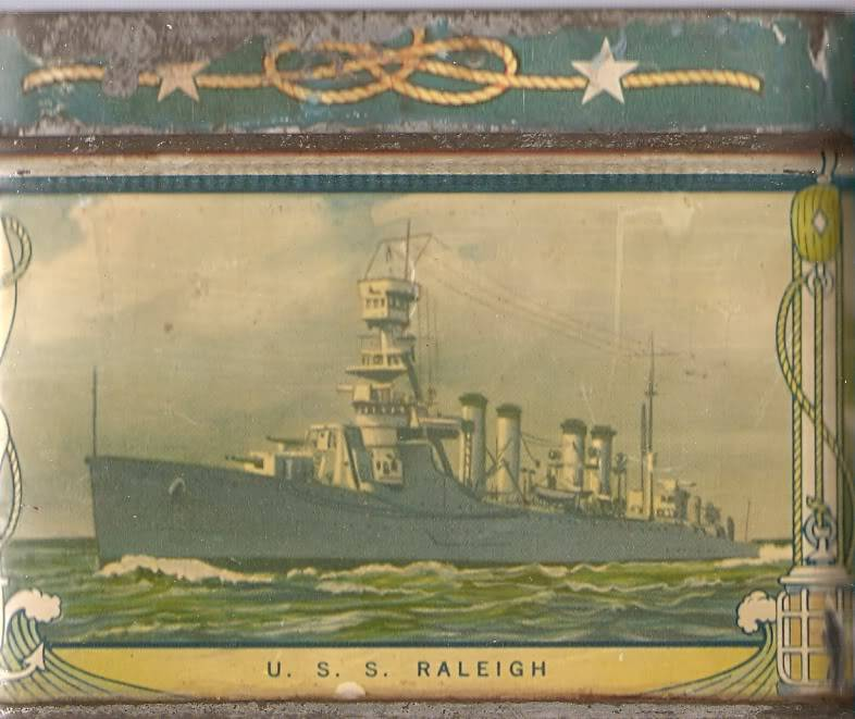 1930's USN motif biscuit tin Ussraleighcl7
