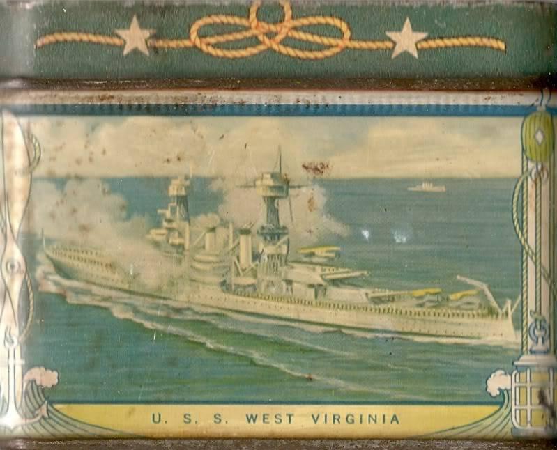 1930's USN motif biscuit tin Usswestvirginiabb48