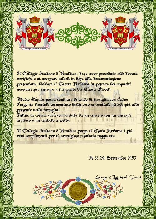Registos do Colégio Heráldico Italiano Arborea