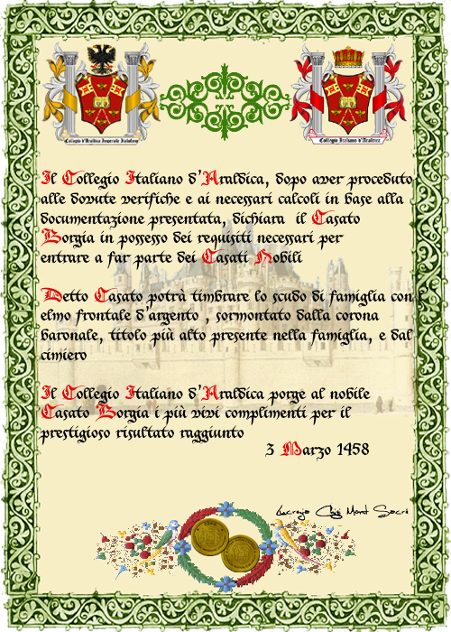 Registos do Colégio Heráldico Italiano Borgia