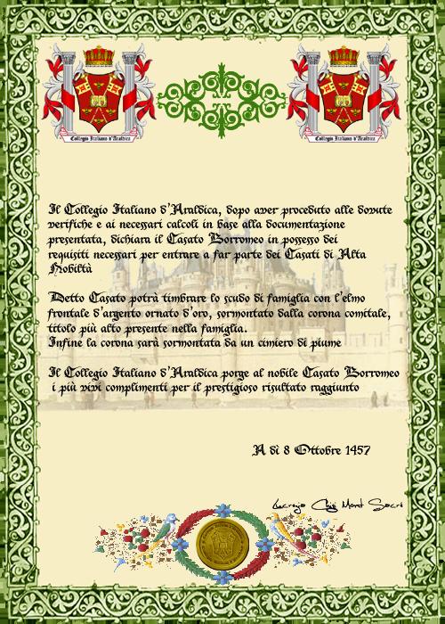 Registos do Colégio Heráldico Italiano Borromeo