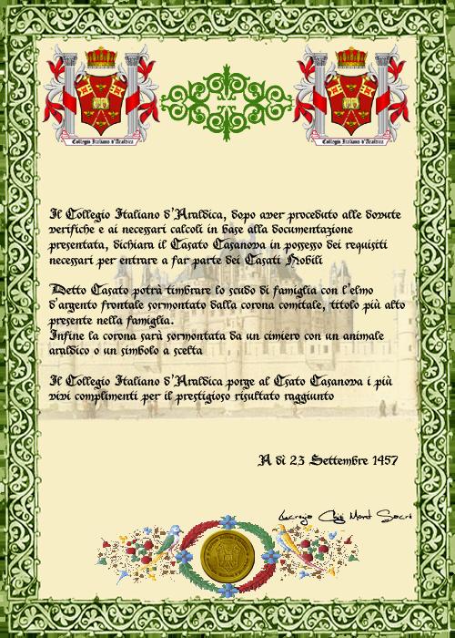 Registos do Colégio Heráldico Italiano Casanovacopia