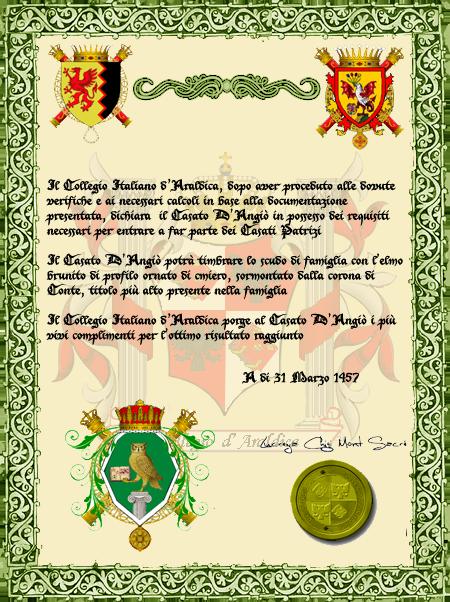Registos do Colégio Heráldico Italiano CasatoAngi