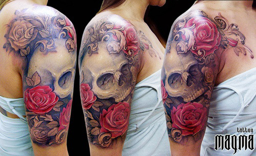 Kokytos, Melinoe Skull-Sleeve-Tattoos-Red-Rose-Flowers-Tattoos-Combinations-with-3D-Skull-Tattoos-Design_zps28d6f9d3