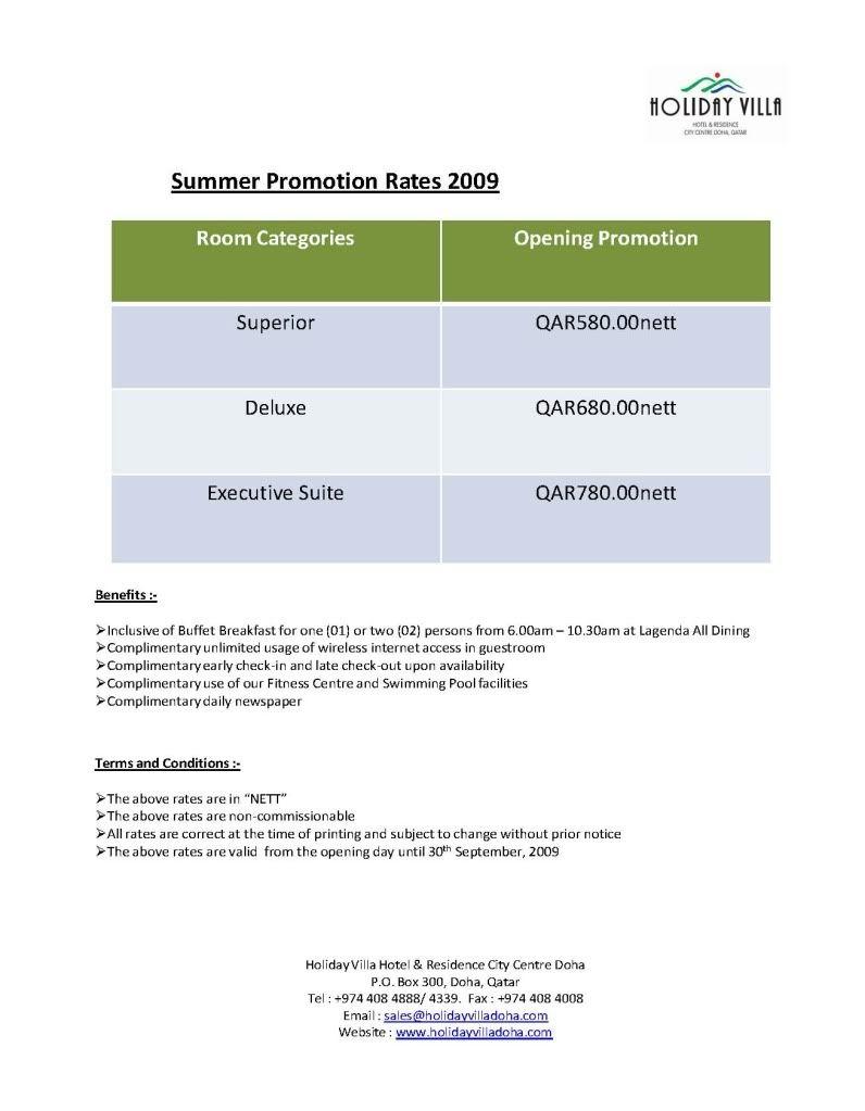 Holiday Villa Doha Summer Promotions