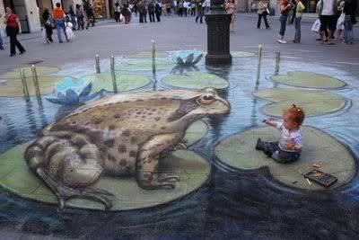 lukisan lukisan 3D yang keren! 3d-frog-painting