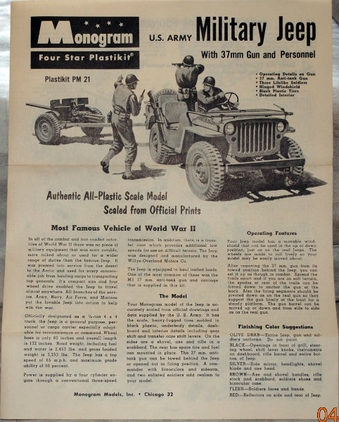 Monogram 1/32ème US Army military jeep and gun DSC_0089