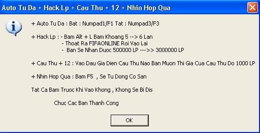 Hack Huyền thoại FiFa Online 2 Phien Ban 1069 Auto