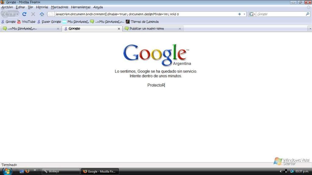 Javascript GooglesinservicioProtectoR