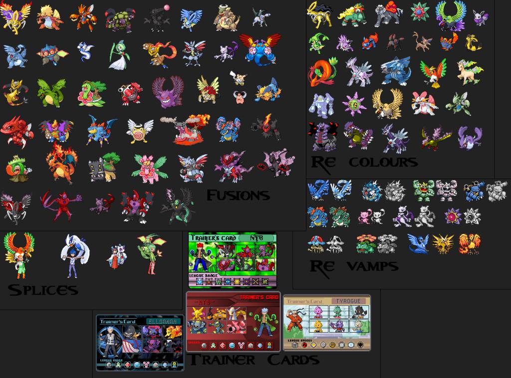 Pokemon sprite fusion / re-colours / re-vamps / trainers @ splices / trainer cards Bbf0a1eb