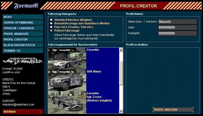 Need For Speed Most Wanted + Black Edition + Hackeador (PC) Perfilcreador