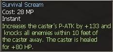 New race character skills: Human SurvivalScream2