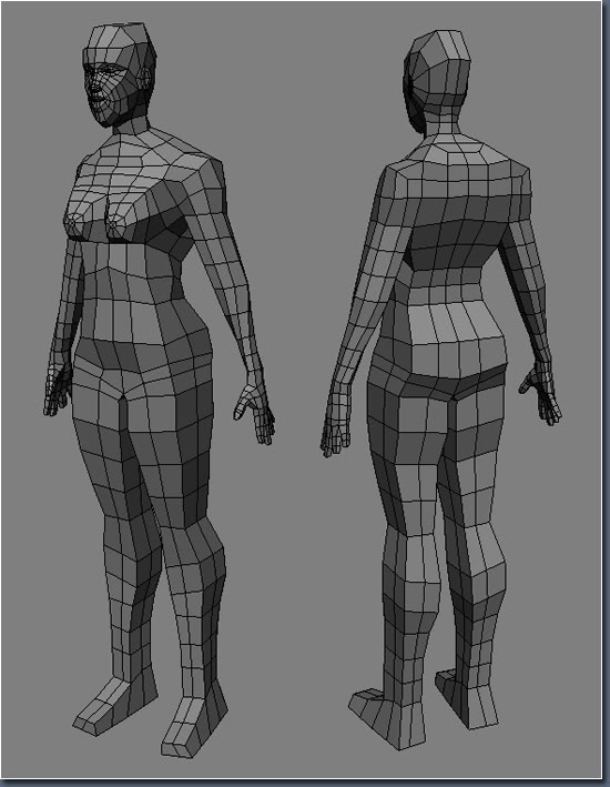 Aayla Comiquette Character Modeling Fig02_female_body_low_poly