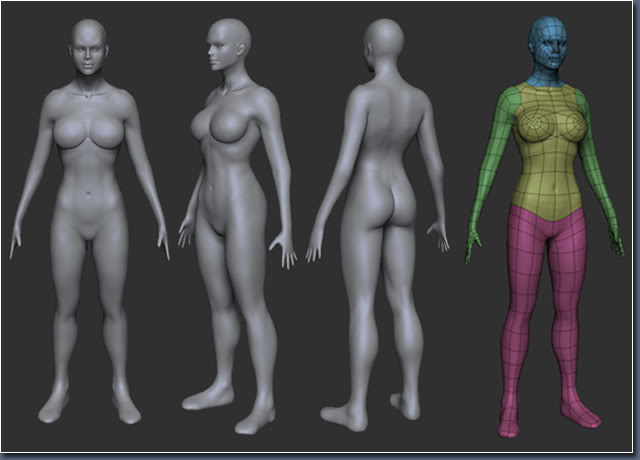 Aayla Comiquette Character Modeling Fig03_female_body_model