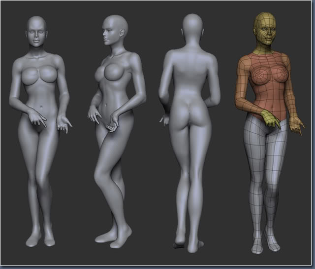 Aayla Comiquette Character Modeling Fig04_female_body_model