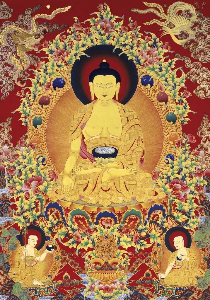 Sarvadharma Mahasandhi Samantabhadra Bodhichitta Vajra Kulaya Rāja Maha Tantraraja Nama Mahayana Sutra Arya_Buddha_Shakyamuni_Thangka
