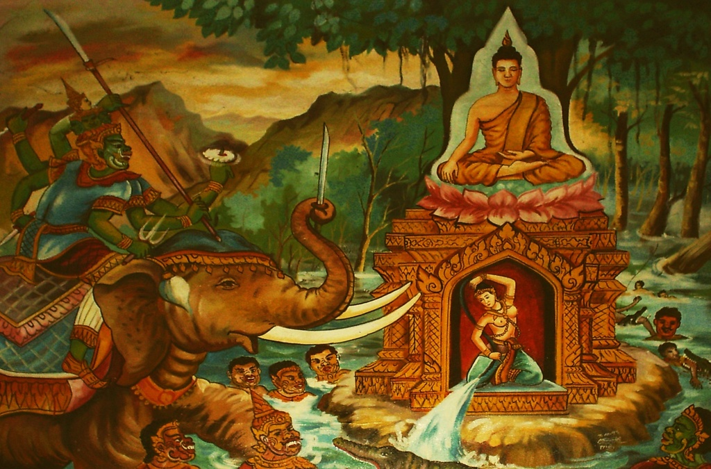 Arya Sri Lalitavistarah Maha Vaipulya Nama Dharmaparyaya Mahayana Suttram Battle_with_Mara