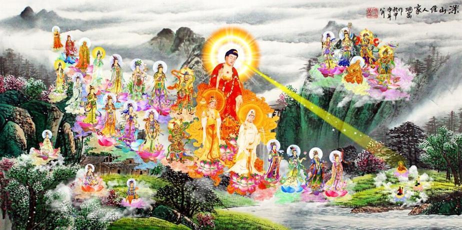 Maha Vaipulya Mahasamnipata Bhadrapala Bodhisattva Parivarta Nama Mahayana Sutra _wsb_924x461_AmitabhaBuddhaAndBodhisattvasArriveToBringPureLandPractitionersMindToPureLand4