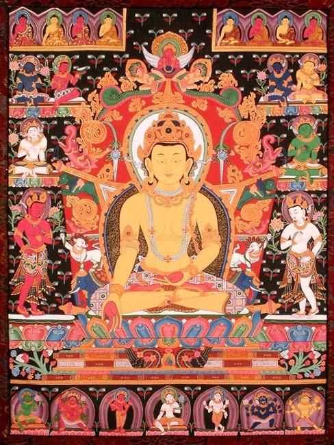 Maha Vaipulya Mahasamnipata Bhadrapala Bodhisattva Parivarta Nama Mahayana Sutra Dhyani_buddha_ratnasambhava_with_the_eight_bodhisattvas_te20
